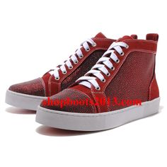 Glossy pony suede upper mid top shoe Signature red leather sole Flat heel colour:red made in Italy. Christian Louboutin Red Bottoms, Louboutin High Heels, Cheap Christian Louboutin, Red Louboutin, Cheap Louboutins, Basket Rouge, High Tops, High Top Sneakers, Women's Sneakers