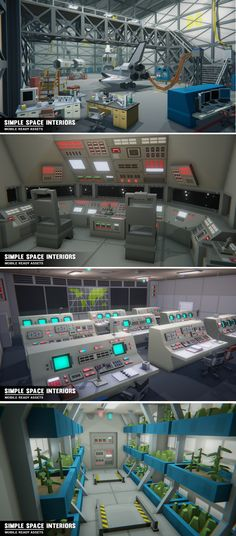Simple Space Interiors - Cartoon Assets Rocket Lab - Vintage Command room - Rocket Lab - Underwater Training room - G-force machine - Shuttle Interior - Space Station Interior - SpaceShip Factory