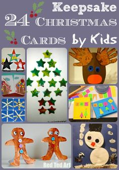 We love all getting crafty for the kids and we love sending friends and family homemade Christmas cards every year. As the number of the kids' friends grow, I think it is nice to get THEM to make their own cards – that way it is personal and thoughtful, but also, they don't get tempted …