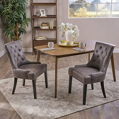 Christopher Knight Home 304852 Sarah Traditional Microfiber Dining Chairs (Set of Slate, Tufted Dining Chairs, Solid Wood Dining Chairs, Dining Chair Set, Furniture For You, Living Room Furniture, Home Furniture, Furniture Ideas, Marble Top End Tables, Living Room Arrangements