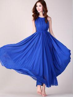 Royal Blue Long Evening Wedding Party Dress Lightweight Sundress Plus Size Summer Dress Holiday Beach Dress Bridesmaid dress Long Prom Dress...