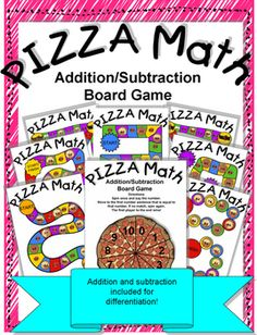 Just in time for the big game! Heres a board game that great for math centers, summer school, home school activities or just for fun! Pizza Math is a great way to help students review and/or make connections between addition and subtraction!Contents1 Spinner Sheet (0-10), 7 Game Boards, 2 Answer Key SheetsMaterials Needed1 paperclip, 1 Pencil per game boardPrint as many spinner sheets as desired.