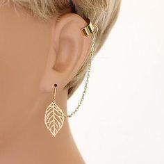 EUR € 1.79 - manguito borlas hoja moda shixin® gota pendiente de la aleación del oído (oro, plata) (1 unidad), ¡Envío Gratis para Todos los Gadgets!
