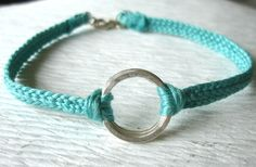 Blue Green Braided Bracelet with Sterling Silver Rings