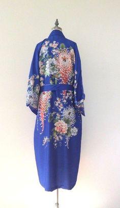 Vintage Antique 1940s 1950s Rare Japanese Floral Kimono Robe Silk Lingerie