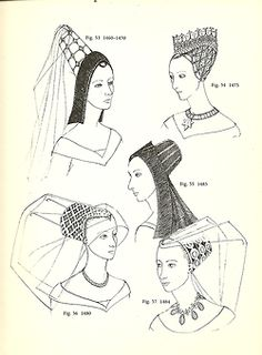 """York (1460-1485): Medieval hair fashion """"Butterfly and Hennin"""""""