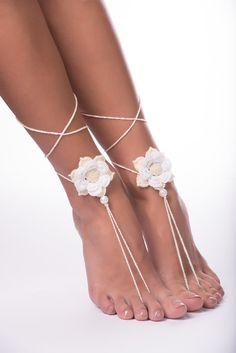 Beach wedding Crochet Barefoot Sandals/Beaded barefoot sandals Wedding/Baretoot sandals/bridal barefoot sandals/nude sandals
