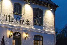 The Creek - Pub Interior Design - Pub Outside Painted Sign Commercial Interior Design, Commercial Interiors, Pub Interior, London, Mansions, House Styles, Projects, Home Decor, Mansion Houses