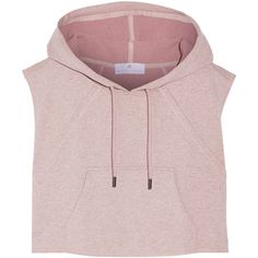 Adidas by Stella McCartney Cropped hooded cotton sweatshirt (£62) ❤ liked on Polyvore featuring tops, hoodies, sweatshirts, shirts, crop tops, purple, purple hoodie, sleeveless hoodie, pink crop top and purple crop top