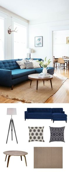 A dark blue sofa pairs quite well with neutral pieces.