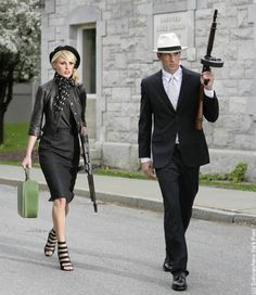 Bonnie & Clyde inspired fashion. She looks ah-mazing!