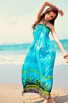 Bohemian V Neck Off The Shoulder Sleeveless Green Cotton Beach Ankle Length Dress