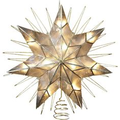 """Kurt Adler 14"""" Capiz Star Lighted Christmas Tree Topper ($70) ❤ liked on Polyvore featuring home, home decor, holiday decorations, christmas, decor, backgrounds, holiday, lit star tree topper, christmas holiday decorations and lit christmas tree topper"""