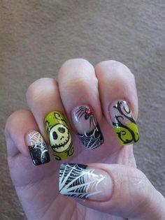 nightmare before christmas nails - jack skellington :)