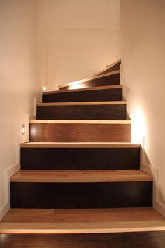 Ideal Holzstufen mit indirekter Beleuchtung und Wandeinbauleuchten Wohnen Pinterest