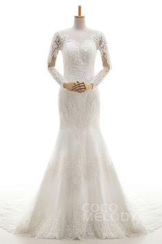 Queenly Trumpet-Mermaid Illusion Natural Court Train Tulle and Lace Ivory Long Sleeve Zipper With Buttons Wedding Dresses with Appliques and Beading ld4058 #mermaidweddingdresses #wedding #customdresses #sleevesdresses #cocomelody