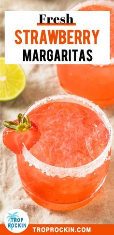 Fresh Strawberry Margaritas on the Rocks easy recipe. This cocktail is a refreshing mix of strawberries tequila and fresh lime juice. Great cocktail for parties too! Strawberry Tequila, Strawberry Cocktails, Fresh Strawberry Margarita Recipe On The Rocks, Recipes For Fresh Strawberries, Strawberry Drink Recipes, Tequila Mixed Drinks, Drinks Alcohol, Good Mixed Drinks, Mixed Drink Recipes