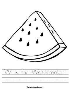 W is for Watermelon Worksheet from TwistyNoodle.com