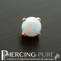Microdermal Or jaune Opale griffée - Piercing-Pure 14 Carat, Serti, Piercings, Stud Earrings, Pure Products, Tattoos, Jewelry, Flower, Opal