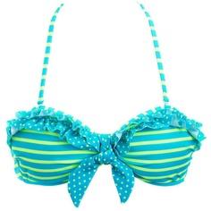 Polka Dots & Stripes Ruffled Bikini Top ($18) ❤ liked on Polyvore