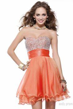 Ruffles Pretty Empire Sweetheart A-line Short Length Organza Prom Dress