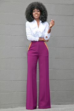 Ruffled Button Down + Contrast Pockets Wide Leg Pants (Style Pantry » My Style)