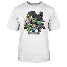 T-Camiseta de manga corta para niño, diseño de personajes del juego de Minecraft blanco 10 años #regalo #arte #geek #camiseta