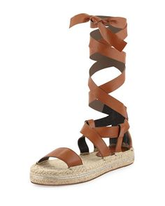 Obsessed with gladiators since 13'.  Gila+Lace-Up+Espadrille+Sandal,+Chestnut+by+Rebecca+Minkoff+at+Neiman+Marcus.