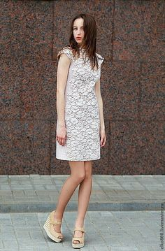 """Купить Платье """"Зефир"""" - бежевый, валяное платье, шелковое платье, кружево, нунофелтинг, шёлк, шерсть"""