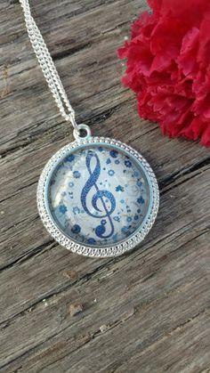Music Note Charm Necklace Silver Chain Treble Clef Musical Fashion Jewelry