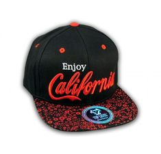 Red on Black Enjoy California Snapback Hat - Printed T-Shirts, Cadet Caps, Military Hats and Sportswear Military Hats, Hip Hop Hat, Bobe, My Boo, Snapback Hats, Sportswear, Baseball Hats, Cap, California