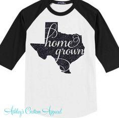 Texas Shirt - Texas Baseball Tee - Home Grown Shirt - black/white XXL