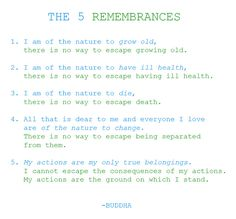 5 remembrances in Buddhism.