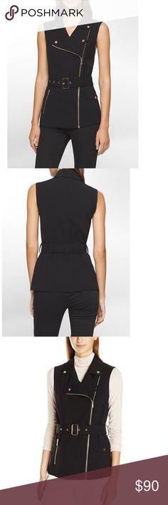CALVIN KLEIN Asymmetrical Zip Biker Vest Jacket Black. Notch collar. Sleeveless. Zip front design. Belted waist. Zippered side pocket. Flap side pocket. Polyester. Soft stretch fabric, lapels with an asymmetrical zip closure and an adjustable belt.   ⚡️Fast Shipper⚡️ 20% Off 2+ Items Make An Offer Calvin Klein Jackets & Coats Vests