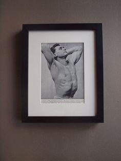 Male torso matted framed vintage bodybuilder print  eye candy  physical fitness 1920s illustration from 1950s book modern black frame