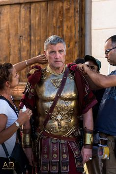Vincent Regan gets into character as Pilate, Roman Governor of Judea.   A.D. The Series