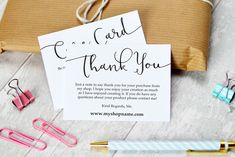 Business Thank You & Care Cards - perfect for handmade or creative businesses looking for easy to edit stationery. Give your orders a professional look and encourage your customers to return with these simple, stylish templates. Edit them to include your own information and business details, then print at home or take them to a print shop. $7 #ad #creativemarket