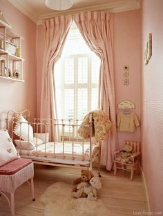Pretty pink girl's nursery, I did a pop out curtain rod once with a hula hoop cut in half and mounted, worked great! #decor #bedding #baby