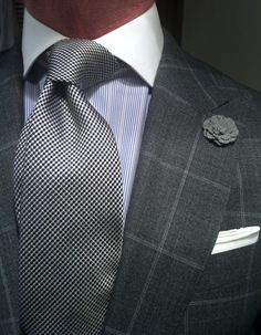 thesnobreport: WIWT Grey Windowpane Suit by Suitsupply, Shirt and Tie by Reuben Alexander & Boutonière by hook + ALBERT Sharp Dressed Man, Well Dressed Men, Terno Slim, Windowpane Suit, La Mode Masculine, Mens Style Guide, Style Men, Suit And Tie, Gentleman Style