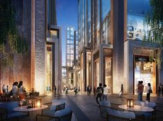 Daytime and twilight treatments of Shanghai Bund's pedestrian area. Office Building Architecture, Architecture Company, Architecture Graphics, Futuristic Architecture, Architecture Design, Mix Use Building, Building Design, Interior Exterior, Exterior Design