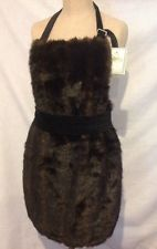 ESPRESSO FAUX SEXY FUR MINK APRON WITH VELVET NECK & TIES-ISABELLA'S JOURNEY-NWT