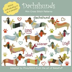 What is long and short and full of mischief? That's right! A Dachshund! This lovable pattern is for the wiener dog lover in your family. You know who you are!        Mini Cross Stitch Pattern: Dachshunds      Design Source: BabaPuff      DMC Floss Colors: 31      Stitch Count: 233 x 163
