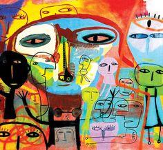 MIlo Lockett Face Expressions, Outsider Art, Art Plastique, Artist At Work, Mixed Media Art, New Art, Find Art, Modern Art, Abstract Art