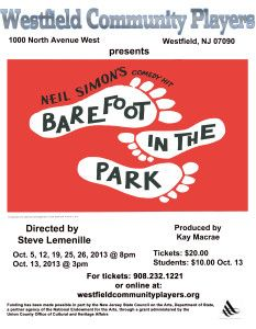Barefoot in the Park at the Westfield Community Players, #Westfield #NJ
