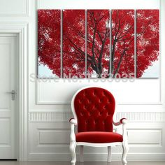 Hand Painted Modern Abstract Red Leaves Tree Oil Painting On Canvas Picture 5 Piece Wall Art Home Decorations Set