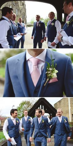 Pink tie and navy suit