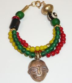 Griot - Afrocentric triple strand bracelet of African trade beads and brass accents