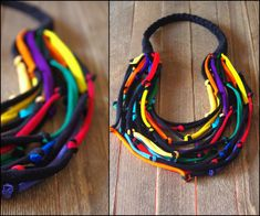 Upcycled BASIC fiber necklace/Recycled black multicolor/Handmade colorful/Repurposed material/Soft/Eco friendly/Jersey stripes USD) by cirrhopp Jewelry Crafts, Jewelry Art, Beaded Jewelry, Fabric Necklace, Diy Necklace, Necklaces, Textile Jewelry, Fabric Jewelry, Recycled Jewelry