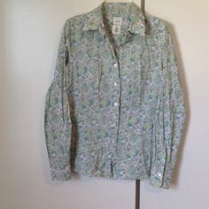 "J. Crew ""washed shirts"" in bird print Pretty bird print. Size 0. Comes with extra button. J. Crew Tops Blouses"