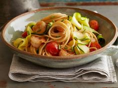 Ribbony Shrimp and Pasta Scampi: Medium-size shrimp are the perfect size for a twirl of spaghetti shot through with ribbons of squash. Have vegetarians at the table? Omit the shrimp, double the tomatoes and serve with a spoonful of part-skim ricotta cheese on top.